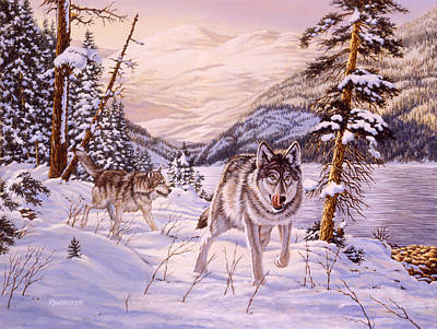Wolf Painting - Winter Hunt by Richard De Wolfe