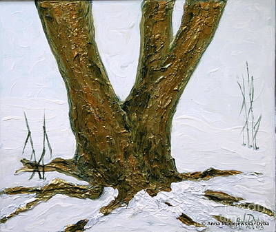 Folkartanna Painting - Winter In Brooklyn Botanic Garden by Anna Folkartanna Maciejewska-Dyba