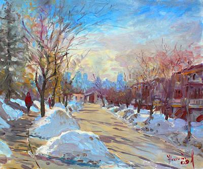 Winter In Silverado Dr Mississauga On Art Print by Ylli Haruni