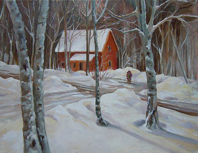Painting - Winter In The Woods by Nancy Griswold