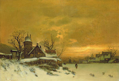 Winter Landscape Painting - Winter Landscape by Friedrich Nicolai Joseph Heydendahl
