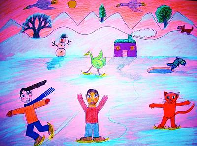 Winter Sports Mixed Media - Winter Landscape by Ward Smith
