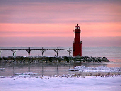 Photograph - Winter Lighthouse by Bill Pevlor