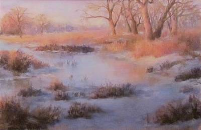 Pastel - Winter Marsh Series- Fire And Ice by Bill Puglisi