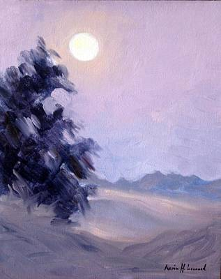Iconic Painting - Winter Moonrise by Karin  Leonard