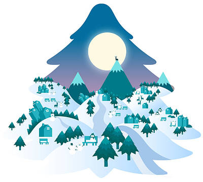 Mountains Digital Art - Winter Night Landscape by Eastnine Inc.