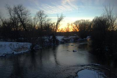 Photograph - Winter Nightfall Along The Creek by Dakota Light Photography By Dakota
