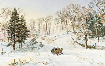 Horse-drawn Painting - Winter On Ravensdale Road by Jasper Francis Cropsey