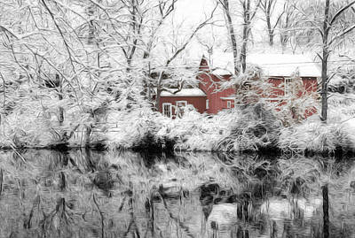 Winter On The D And R Canal Nj Art Print by Matt Create