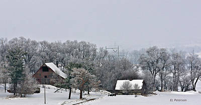 Print featuring the photograph Winter On The Farm by Edward Peterson