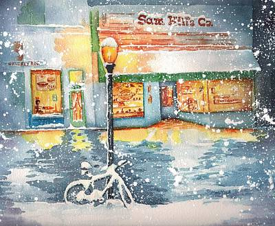 Painting - Winter On Whiskey Row Prescott Arizona by Sharon Mick