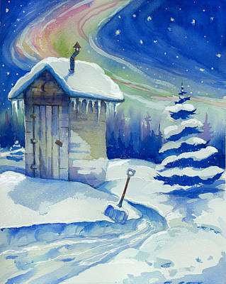 Winter Light Mixed Media - Winter Outhouse by Peggy Wilson