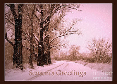 Snowy Roads Photograph - Winter Pink Season's Greetings by Carol Groenen