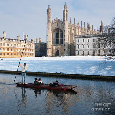 Cambridge Photograph - Winter Punting by Andrew  Michael