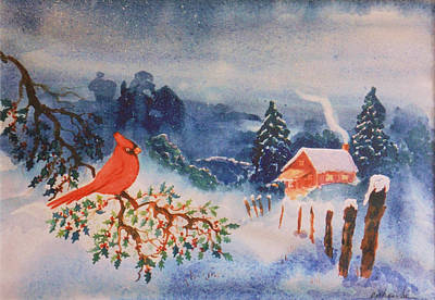 Holly Berry Still Life Painting - Winter Red Bird by Bill Joseph  Markowski
