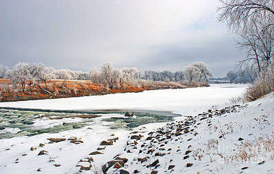Winter Red River 2012 Art Print by Steve Augustin