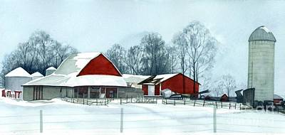 Red Barn In Winter Painting - Winter Respite In The Heartland by Barbara Jewell