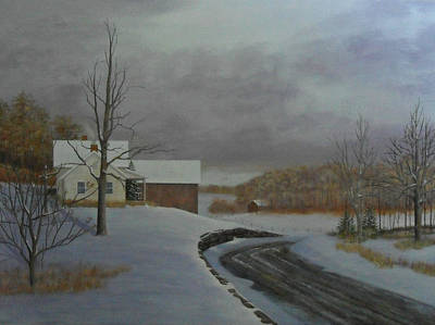 Pastel Barns Painting - Winter Road by Dale Lewis
