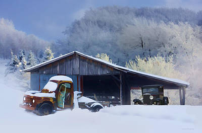 Shed Digital Art - Winter Shed by Ron Jones