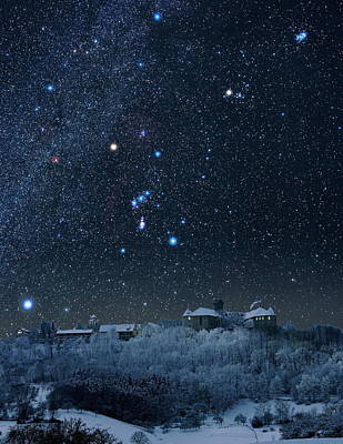 Winter Sky With Orion Constellation Art Print