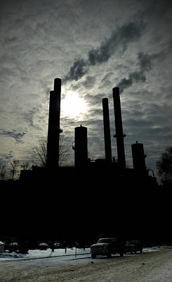 Photograph - Winter Smokestacks by Tim Nyberg