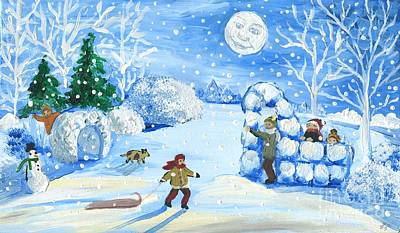 Snow Forts Painting - Winter Snowball Fight by Sylvia Pimental