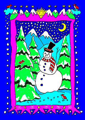 Drawing - Winter Snowman by Nancy Griswold