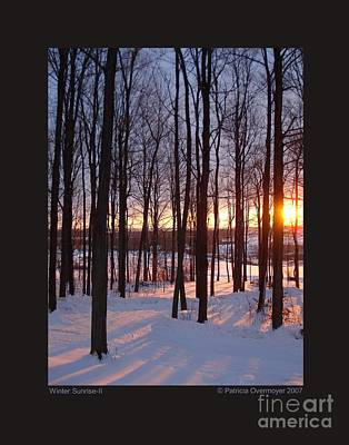 Art Print featuring the photograph Winter Sunrise-ii by Patricia Overmoyer