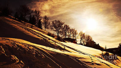 Christmas Holiday Scenery Photograph - Winter Sunset by Anna Om