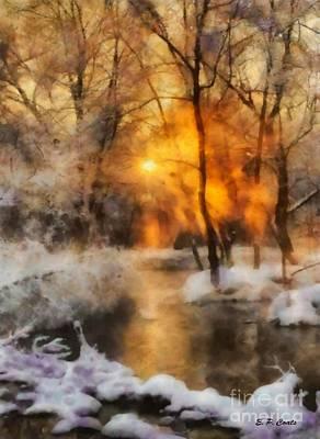 Winter Sunset Art Print by Elizabeth Coats