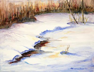 Kristine Painting - Winter Sunset by Kristine Plum