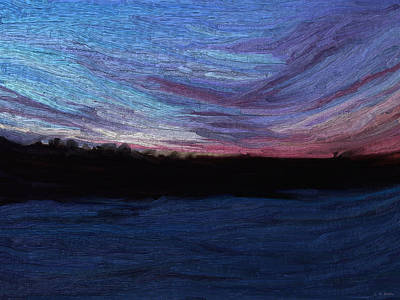 Art Print featuring the digital art Winter Sunset by Lauren Radke