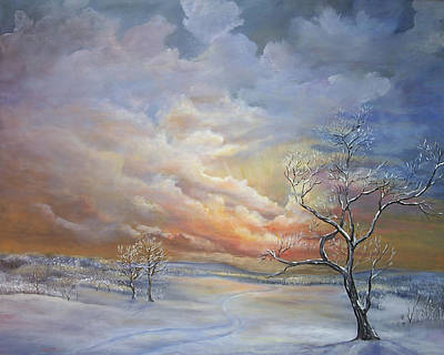 Painting - Winter Sunset by Katalin Luczay