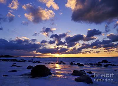 Winter Sunset On Lake Michigan - Fm000053 Art Print