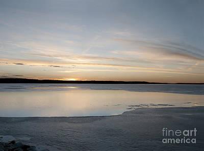 Winter Sunset Over Lake Art Print by Art Whitton
