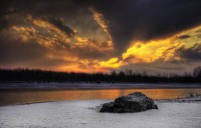 Art Print featuring the photograph Winter Sunset by Yelena Rozov