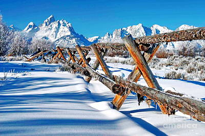 Winter Tetons Fence Art Print by Richard Brady
