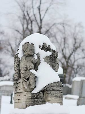 Graveyard Digital Art - Winter Tombstone by Gothicrow Images