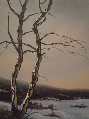 Art Print featuring the painting Winter Trees by James Guentner
