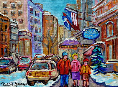 Montreal Street Life Photograph - Winter Walk Downtown Montreal by Carole Spandau
