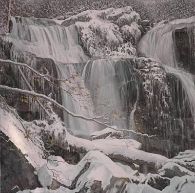 Winter Waterfalls Art Print by Giacomo Alessandro Morotti