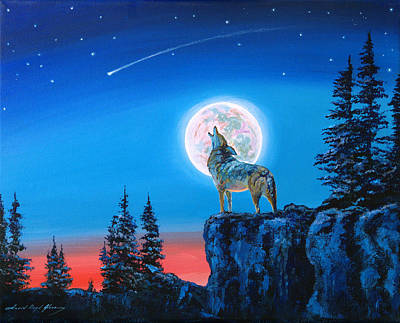 Winter Wolf Moon Art Print by David Lloyd Glover