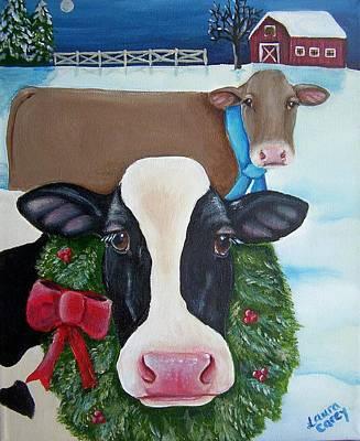 Moo Moo Painting - Winter Wonderland by Laura Carey