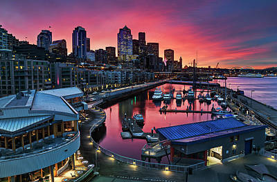 Built Structure Photograph - Winter's Morning Palette Seattle by Stephen Kacirek
