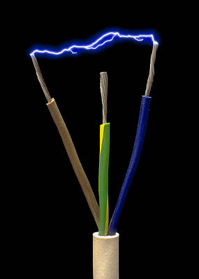 Wires Of A 3-pin Plug Showing Spark Discharge Art Print