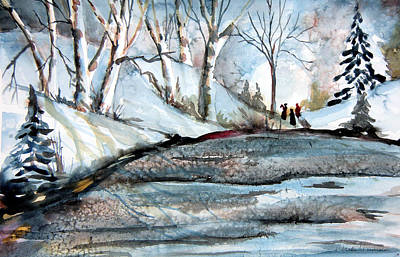 Snowscape Painting - Wisemen by Mindy Newman