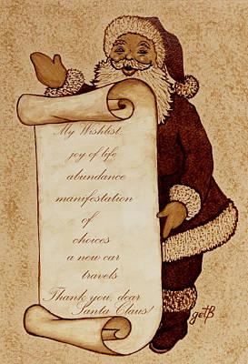 Santa Claus Painting - Wishlist For Santa Claus  by Georgeta  Blanaru