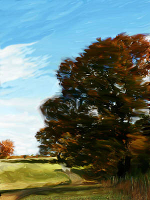 Beth Dennis Painting - Wispy Autumn Road by Beth Dennis