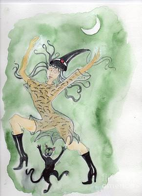 Art Print featuring the painting Witches Dance With Cats On Halloween by Doris Blessington