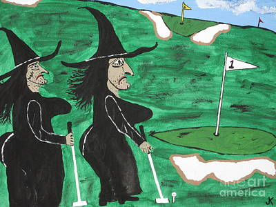 T- Ball Painting - Witches Golf Day by Jeffrey Koss